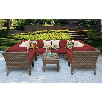 Manhattan 9 Piece Sectional Seating Group with Cushion Fabric: Terracotta