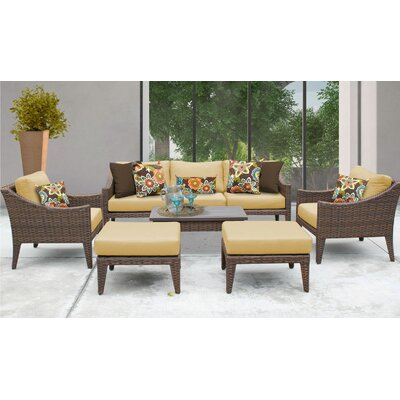 Manhattan 8 Piece Deep Seating Group with Cushion Fabric: Sesame