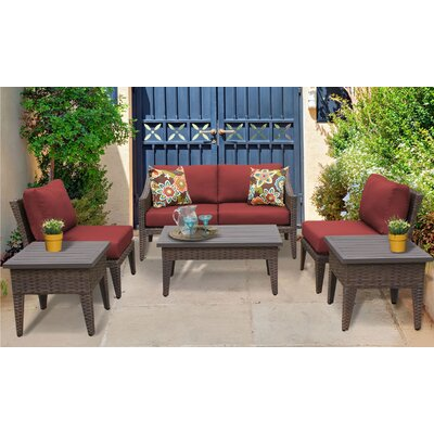 Manhattan 7 Piece Deep Seating Group with Cushion Fabric: Terracotta