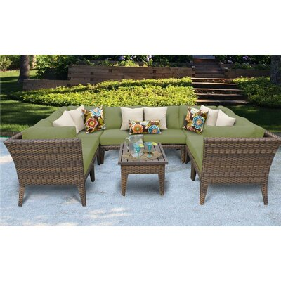 Manhattan 9 Piece Sectional Seating Group with Cushion Fabric: Cilantro