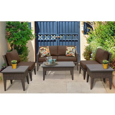 Manhattan 7 Piece Deep Seating Group with Cushion Fabric: Cocoa