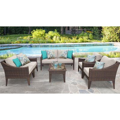 Manhattan 7 Piece Deep Seating Group with Cushion Fabric: Beige