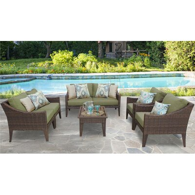 Manhattan 7 Piece Deep Seating Group with Cushion Fabric: Cilantro