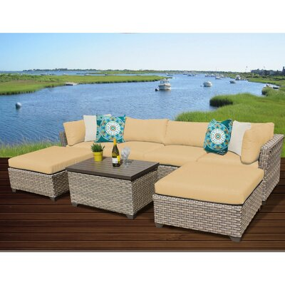 Monterey 7 Piece Sectional Seating Group with Cushion Fabric: Sesame