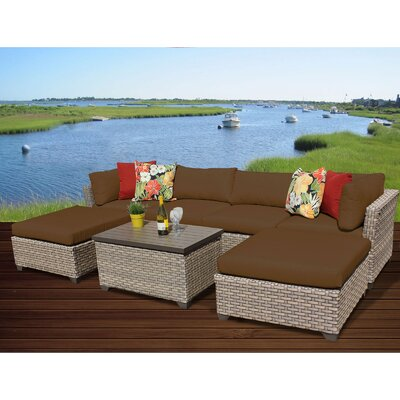 Monterey 7 Piece Sectional Seating Group with Cushion Fabric: Cocoa