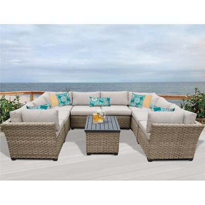 Monterey 9 Piece Sectional Seating Group with Cushion Fabric: Beige