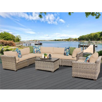 Monterey 8 Piece Sectional Seating Group with Cushion Fabric: Wheat