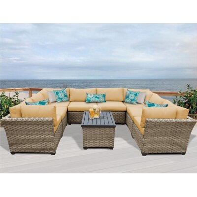Monterey 9 Piece Sectional Seating Group with Cushion Fabric: Sesame