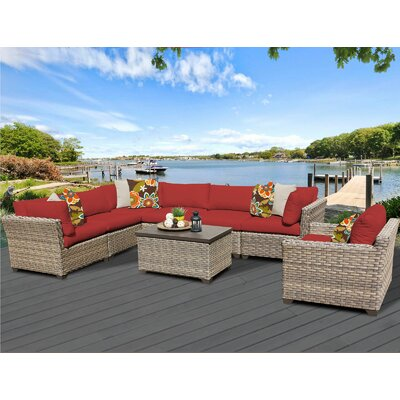 Monterey 8 Piece Sectional Seating Group with Cushion Fabric: Terracotta