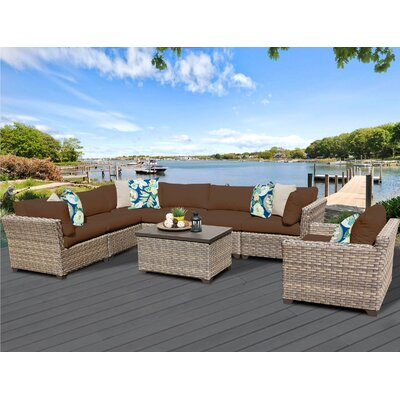 Monterey 8 Piece Sectional Seating Group with Cushion Fabric: Cocoa