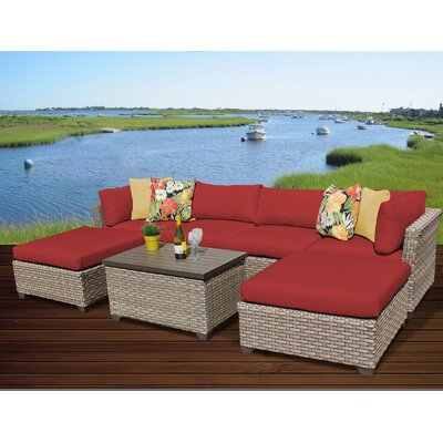 Monterey 7 Piece Sectional Seating Group with Cushion Fabric: Terracotta