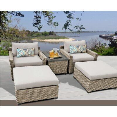 Monterey 5 Piece Deep Seating Group with Cushion Fabric: Beige