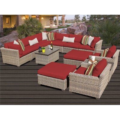 Monterey 13 Piece Sectional Seating Group with Cushion Fabric: Terracotta