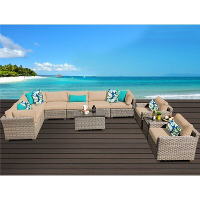 Monterey 11 Piece Sectional Seating Group with Cushion Fabric: Wheat