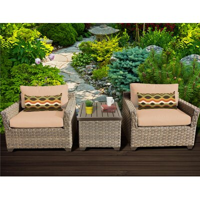 Monterey 3 Piece Lounge Seating Group with Cushion Fabric: Wheat