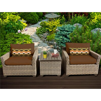Monterey 3 Piece Lounge Seating Group with Cushion Fabric: Cocoa