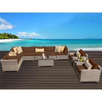 Monterey 11 Piece Sectional Seating Group with Cushion Fabric: Cocoa