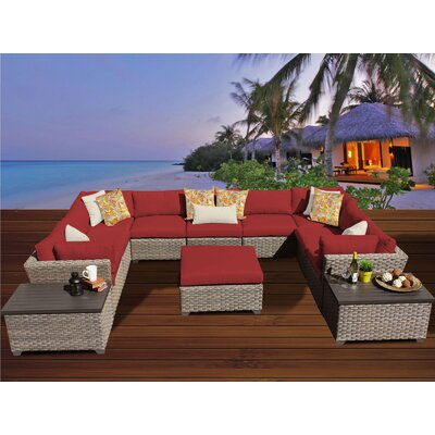 Monterey 12 Piece Sectional Seating Group with Cushion Fabric: Terracotta