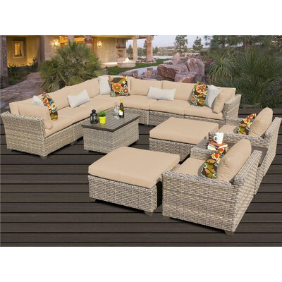 Monterey 13 Piece Sectional Seating Group with Cushion Fabric: Wheat