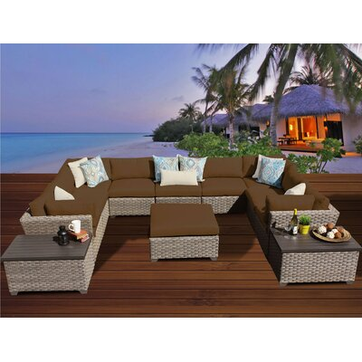 Monterey 12 Piece Sectional Seating Group with Cushion Fabric: Cocoa