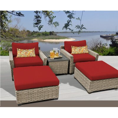 Monterey 5 Piece Deep Seating Group with Cushion Fabric: Terracotta