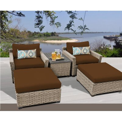 Monterey 5 Piece Deep Seating Group with Cushion Fabric: Cocoa