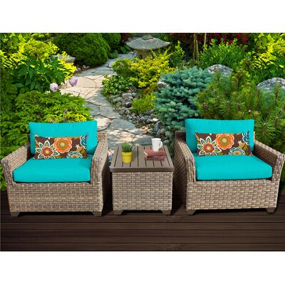 Monterey 3 Piece Lounge Seating Group with Cushion Fabric: Aruba