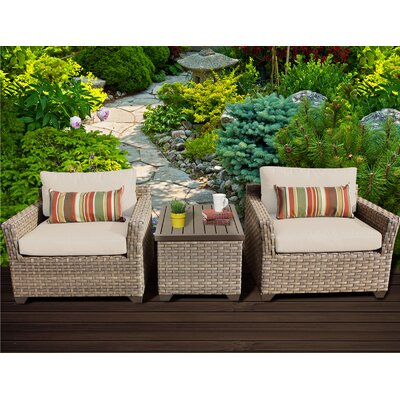 Monterey 3 Piece Lounge Seating Group with Cushion Fabric: Beige