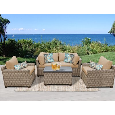 Monterey 5 Piece Deep Seating Group with Cushion Fabric: Wheat