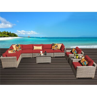 Monterey 11 Piece Sectional Seating Group with Cushion Fabric: Terracotta