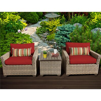 Monterey 3 Piece Lounge Seating Group with Cushion Fabric: Terracotta