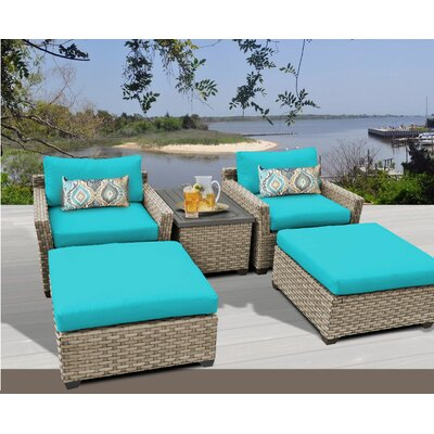 Monterey 5 Piece Deep Seating Group with Cushion Fabric: Aruba