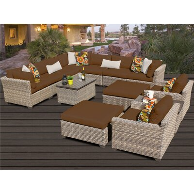 Monterey 13 Piece Sectional Seating Group with Cushion Fabric: Cocoa