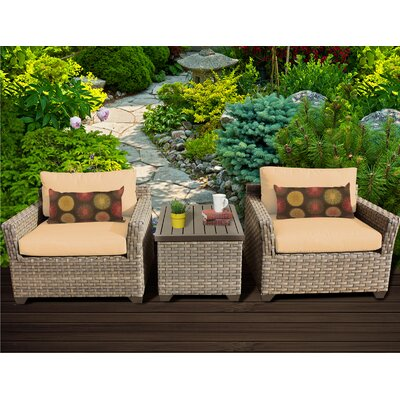 Monterey 3 Piece Lounge Seating Group with Cushion Fabric: Sesame