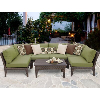 Manhattan 7 Piece Sectional Seating Group with Cushion Fabric: Cilantro