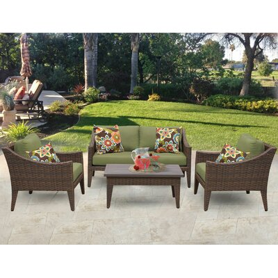 Manhattan 5 Piece Deep Seating Group with Cushion Fabric: Cilantro