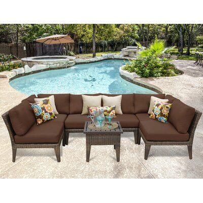 Manhattan 7 Piece Sectional Seating Group with Cushion Fabric: Cocoa