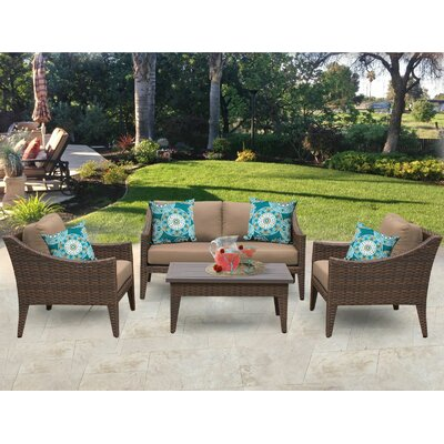 Manhattan 5 Piece Deep Seating Group with Cushion Fabric: Wheat