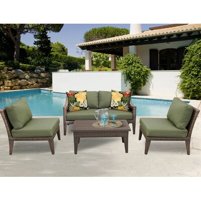 Manhattan 5 Piece Sectional Seating Group with Cushion Fabric: Cilantro