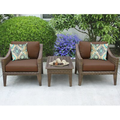 Manhattan 3 Piece Lounge Seating Group with Cushion Fabric: Cocoa