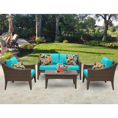 Manhattan 5 Piece Deep Seating Group with Cushion Fabric: Aruba