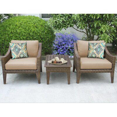 Manhattan 3 Piece Lounge Seating Group with Cushion Fabric: Wheat