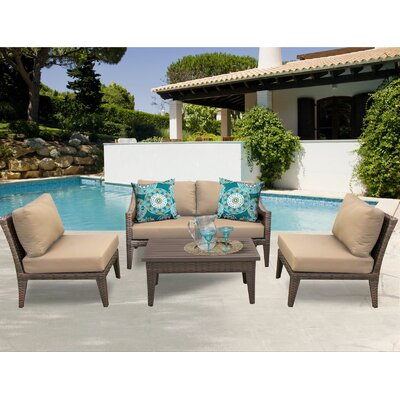 Manhattan 5 Piece Sectional Seating Group with Cushion Fabric: Wheat