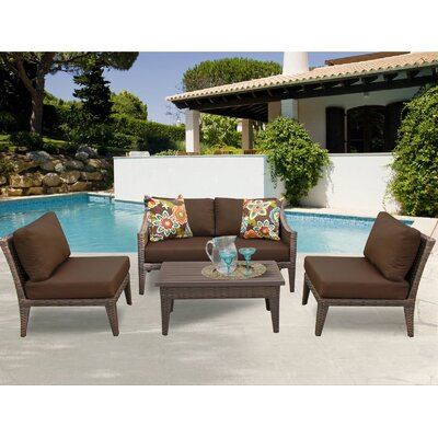 Manhattan 5 Piece Sectional Seating Group with Cushion Fabric: Cocoa