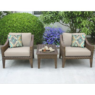 Manhattan 3 Piece Lounge Seating Group with Cushion Fabric: Beige