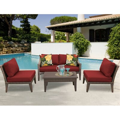 Manhattan 5 Piece Sectional Seating Group with Cushion Fabric: Terracotta