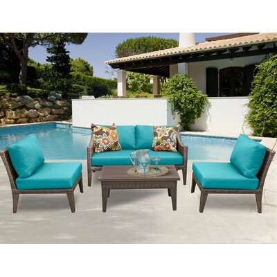 Manhattan 5 Piece Sectional Seating Group with Cushion Fabric: Aruba