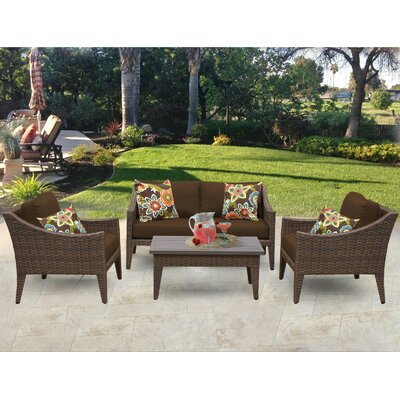 Manhattan 5 Piece Deep Seating Group with Cushion Fabric: Cocoa