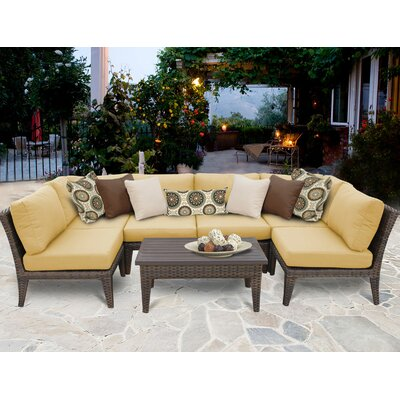Manhattan 7 Piece Sectional Seating Group with Cushion Fabric: Sesame