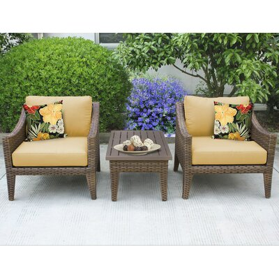 Manhattan 3 Piece Lounge Seating Group with Cushion Fabric: Sesame